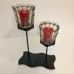 Black candle holders w/glass votive